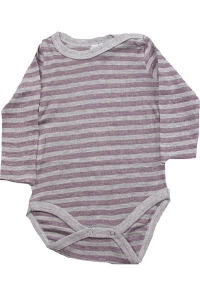 Fuar Baby Bordo Çizgili Çıtçıtlı Body
