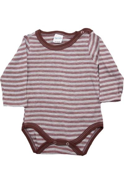 Fuar Baby Kahverengi Çizgili Çıtçıtlı Body