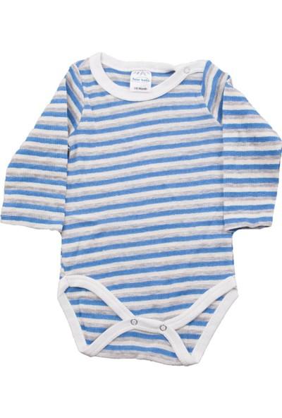 Fuar Baby Mavi Çizgili Çıtçıtlı Body