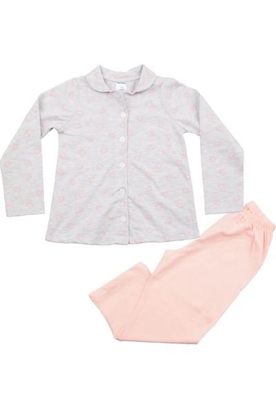 Fuar Baby Kalp Desenli Gri Pijama Takım