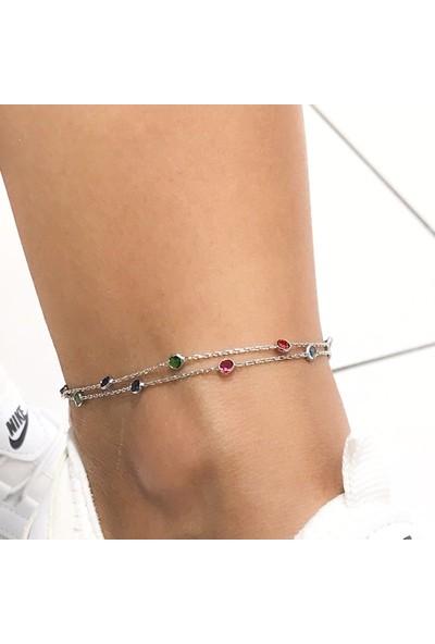 MaGümüş Yeni Sezon Çift Zincir Tiffany Modeli Gümüş Halhal Bileklik