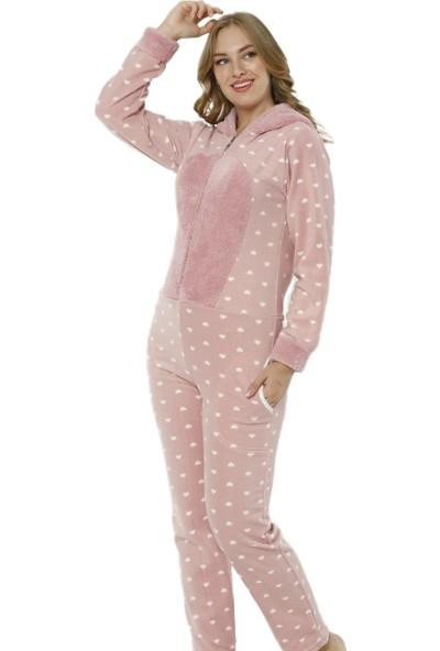 Pijama Evi Kalp Desenli Kadın Polar Peluş Tulum Pijama Takımı