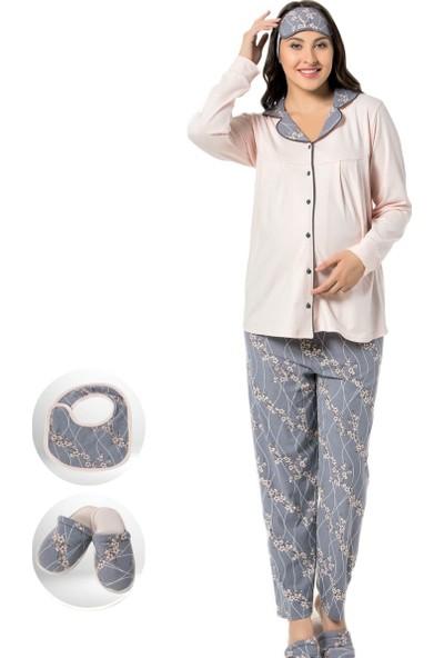 Pijama Evi Gri Çiçek Desen Hamile Lohusa Pijaması