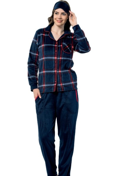 Pijama Evi Kareli Kadın Önden Düğmeli Yumoş Peluş Pijama Takımı
