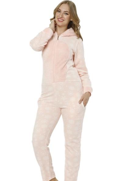 Pijama Evi Toz Pembe Kartanesi Desenli Kadın Polar Peluş Tulum Pijama Takımı