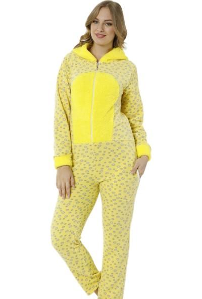 Pijama Evi Popcorn Desenli Kadın Polar Peluş Tulum Pijama Takımı