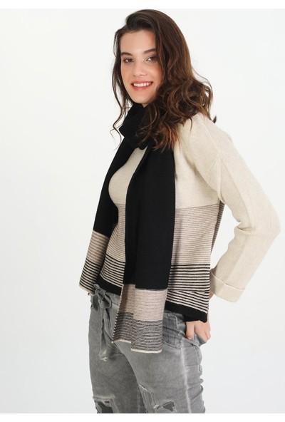 Pua Fashion Atkılı Çizgili Triko Kadın Kazak