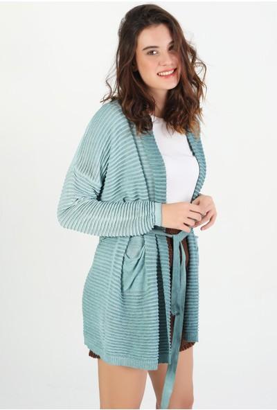 Pua Fashion Fitilli Cep Detaylı Kadın Triko Hırka