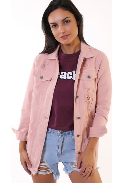Denim Republic Kadın Pembe Yırtık Detaylı Denim Ceket Boyfriend