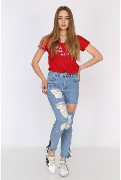 Denim Republic Kadın Buz Mavisi Yırtık Detaylı Yüksek Bel Jean