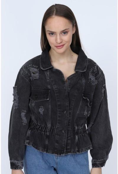 Denim Republic Kadın Siyah Kot Ceket Beli Lastik Detaylı