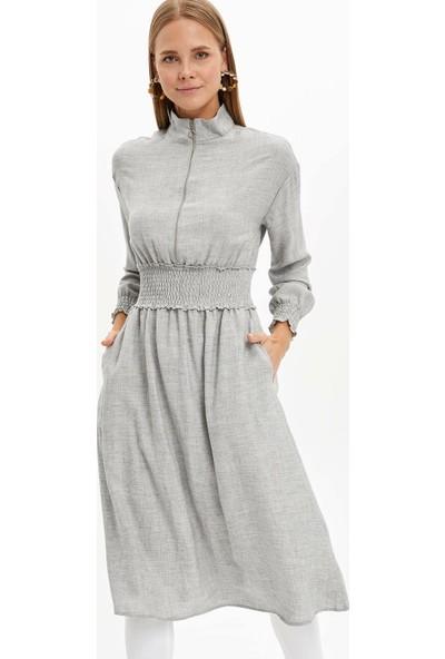 Defacto Kadın Beli Lastikli Uzun Elbise Tunik