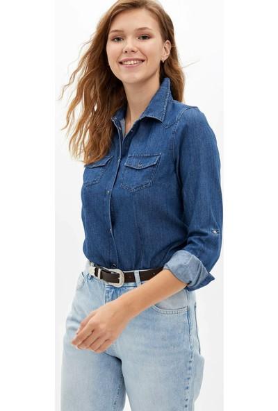 Defacto Kadın Uzun Kollu 2 Cepli Jean Gömlek