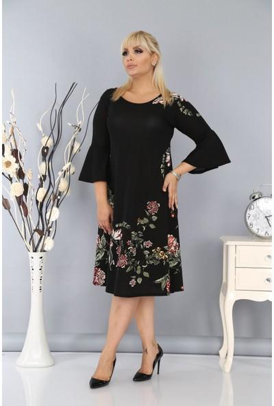 NBB Örme Krep Çiçekli Siyah Elbise