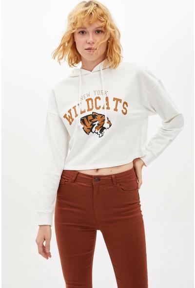 Defacto Kadın Kapüşonlu Baskılı Sweatshirt