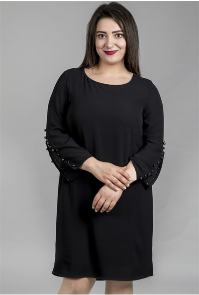Myline Kolda İnci Detaylı Astarlı Elbise