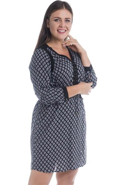 Myline Önü Kuşgözlü Uzun Kollu Elbise 12409-m