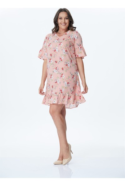 Myline Kol Detaylı Desenli Elbise