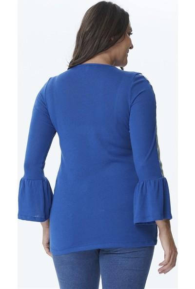 Myline Kolları Şerit Volan Detaylı Örme Bluz