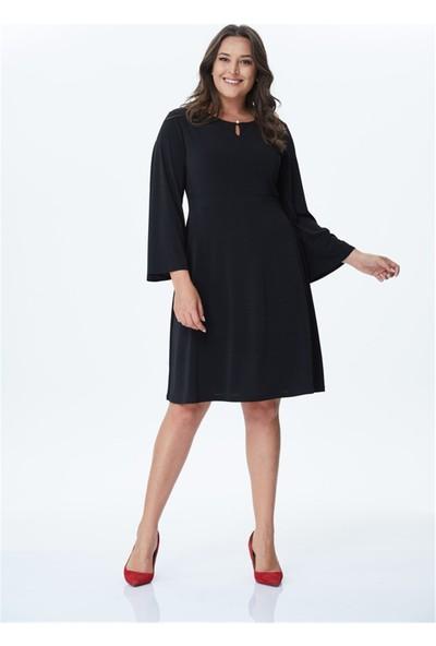 Myline İnci Düğme Detaylı Örme Elbise