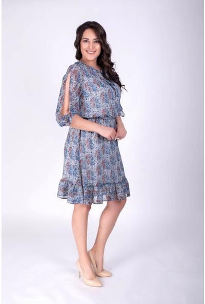 Myline Kol Detaylı Şifon Desenli Elbise