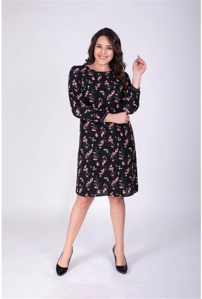 Myline Arka Yaka Detaylı Kol Ribanalı Çiçekli Elbise