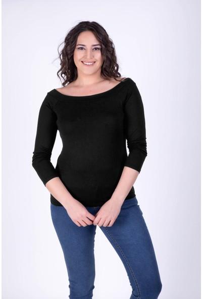Myline Karmen Yaka Siyah Bluz