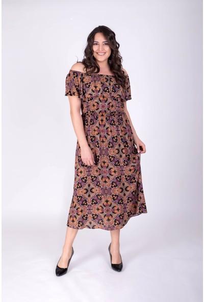 Myline Düşük Omuzlu Volanlı Elbise