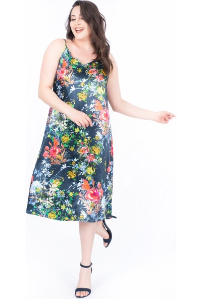 Myline İp Askılı Saten Elbise