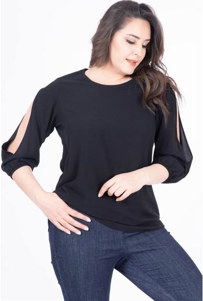 Myline Kolu Yırtmaçlı Bluz
