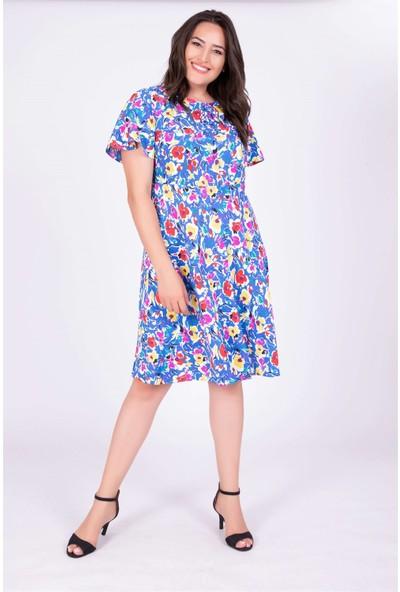 Myline Pelerin Kol Çiçekli Elbise