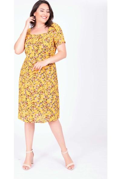 Myline Kare Yaka Çiçekli Elbise