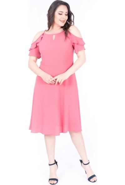 Myline Yaka Çerçeveli Kolları Volanlı Elbise