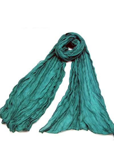 Hediye-ci Kırışık Detaylı Yeşil Fular & Şal