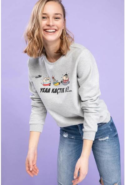 Defacto Kadın Fırat Baskılı Lisanslı Sweatshirt