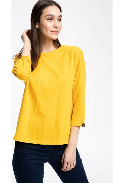Defacto Kadın Geniş Yakalı Uzun Kollu T-Shirt