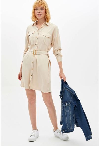 Defacto Kadın Kemerli Gömlek Elbise
