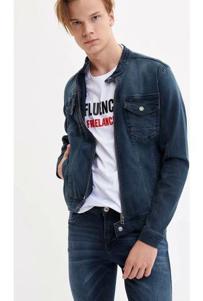 Defacto Erkek Fermuarlı Jean Ceket