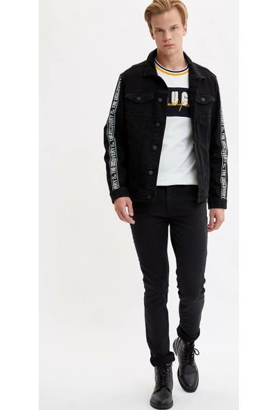 Defacto Erkek Baskılı Jean Ceket