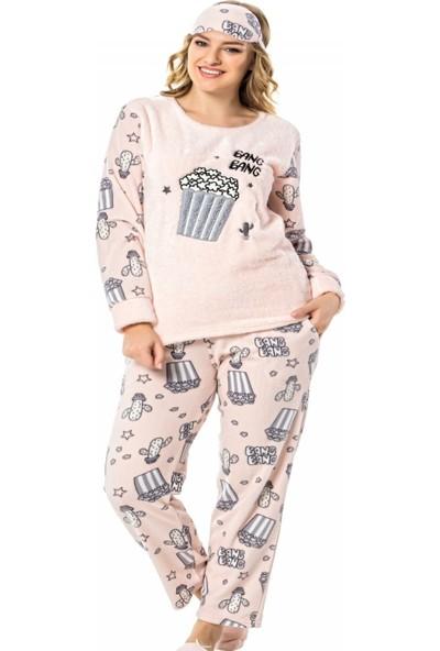 Pijama Evi Patlamış Mısır Desenli Kadın Peluş Pijama Takımı
