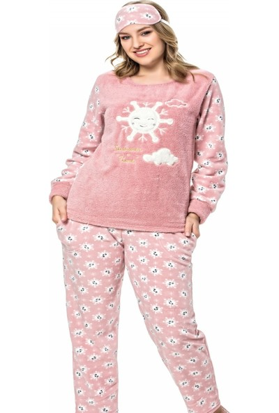 Pijama Evi Güneş Bulut Desenli Kadın Peluş Pijama Takımı