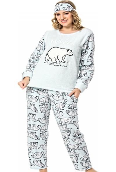 Pijama Evi Bear Desenli Kadın Peluş Pijama Takımı