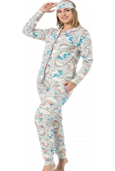 Pijama Evi Pembe Unicorn Önden Düğmeli Uzun Kollu Manşetli Kadın Pijama Takımı