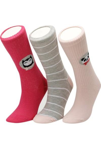 I Cool Rıp Pan 3 Lu Skt-G Ekru Multı Kız Çocuk Soket Çorap