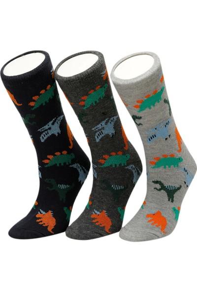 i Cool Dino 3 Lu Skt-B Gri Multi Erkek Çocuk Soket Çorap