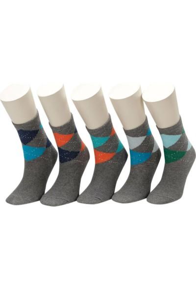 i Cool Baklava8 5 Li Skt-B Gri Multi Erkek Çocuk Soket Çorap