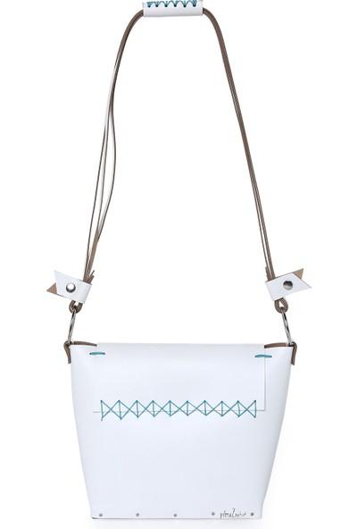 Mitta Beyaz Deri Tasarım Çanta