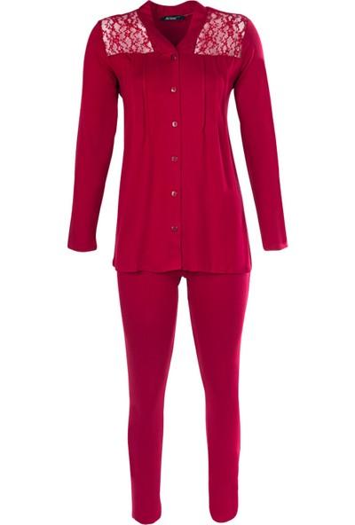 Ayyıldız 59469 Bordo Renk Uzun Kollu Kadın Pijama Takımı