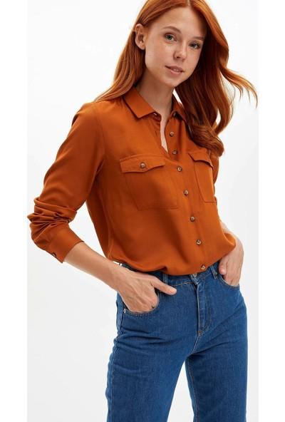 Defacto Kadın Cep Detaylı Uzun Kollu Gömlek
