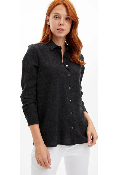 Defacto Kadın Katlanabilir Kollu Uzun Kollu Gömlek